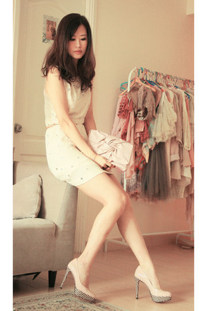 ivory Joy &amp; Peace heels - cream Topshop dress - neutral Joy &amp; Peace bag