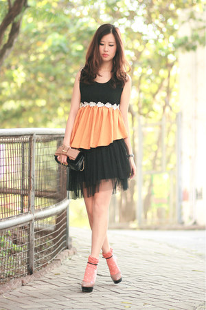 black Global Citizen dress - light orange becky bloomwoods wardrobe top