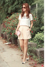 Light-pink-front-row-shop-shorts-ivory-2-top-black-chanel-heels