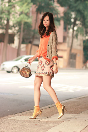 light orange Zara skirt - bronze Fendi heels