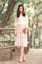 cream Chicwish skirt - white Chicwish shirt - maroon Ipa Nima bag