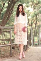 cream Chicwish skirt - white Chicwish shirt - maroon Ipa Nima bag