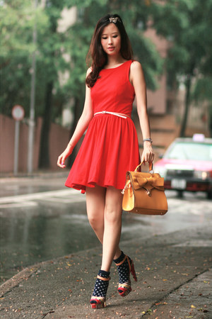 hot pink Carven heels - red Club Couture dress - yellow romwe bag