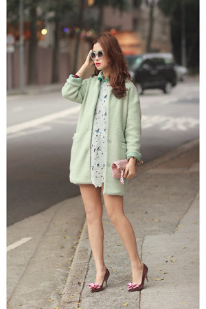 aquamarine Choies blazer - periwinkle Chicwish dress