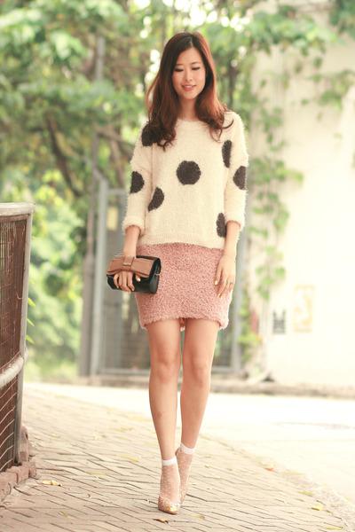 cream Yesstyle sweater - white romwe socks - light pink Minted Republic skirt