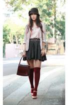 gold kari ang shoes - cream dizzle spiria blazer - light pink FCUK blouse - dark