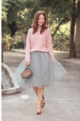 Pink-front-row-shop-sweater-heather-gray-alexandra-grecco-skirt