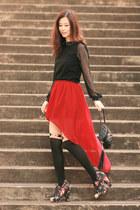 ruby red Sheinside skirt - black becky bloomwoods wardrobe dress