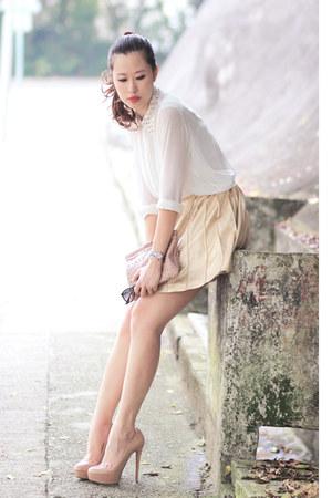 white Choies shirt - black Ray Ban sunglasses - light yellow rare london skirt