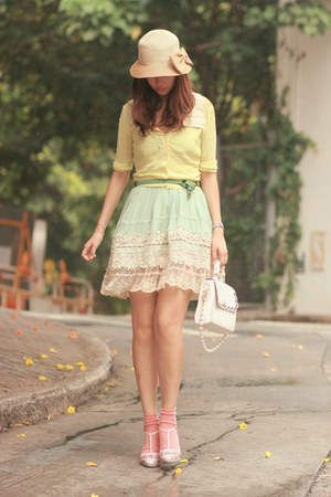 light blue Chicwish dress - white asian icandy bag - peach anteprima heels