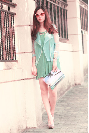 light blue Choies jacket - sky blue Smooch dress - light pink romwe bag