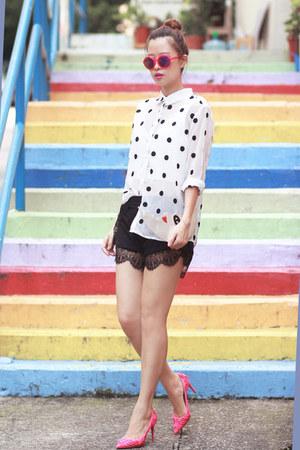 white Front Row Shop shirt - black romwe shorts