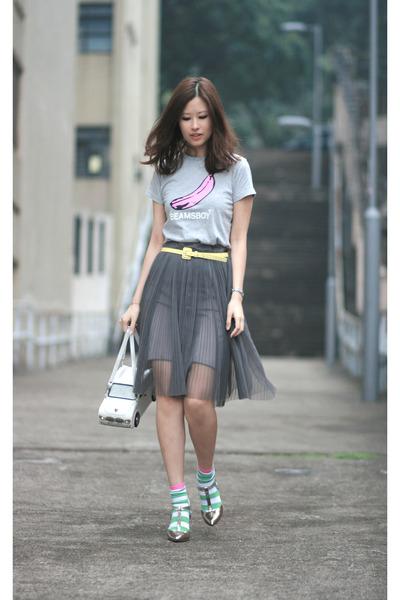 white Amliya bag - chartreuse H&M socks - silver Sergio Rossi heels - heather gr