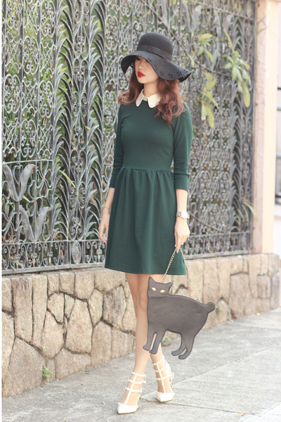 black romwe bag - dark green romwe dress - black Chicwish hat