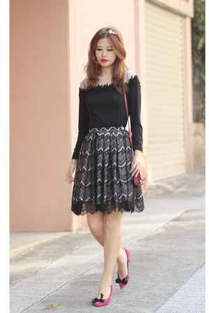 black Varrie skirt - hot pink Miu Miu bag - black Siren London top