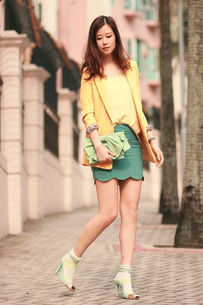 turquoise blue romwe skirt - yellow Yesstyle blazer - lime green YSL heels