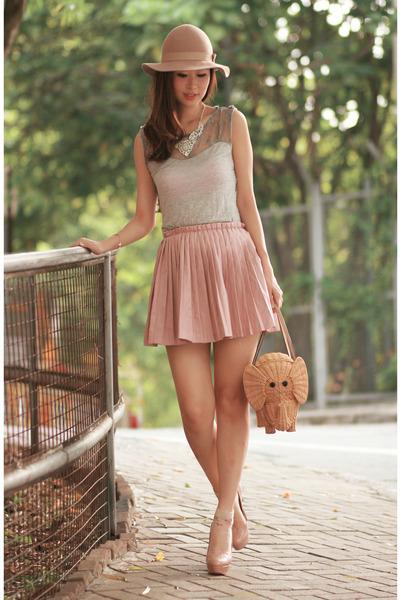 romwe skirt - Monki hat - kate spade bag - Christian Louboutin heels