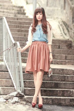 tawny Chicwish skirt - light blue Choies blouse