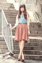 tawny Chicwish skirt - light blue Choies blouse