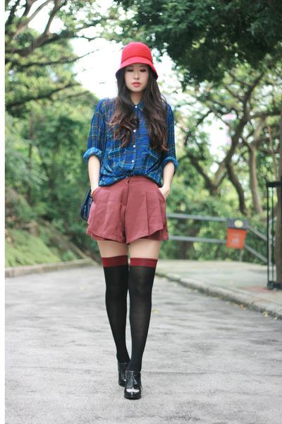 blue sheer American Apparel shirt - black Alexander Wang shoes