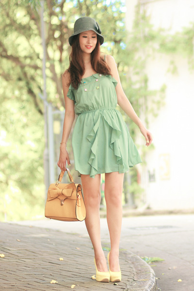 chartreuse Minted Republic dress - yellow romwe bag