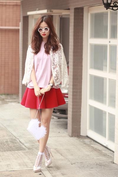 ruby red awwdore skirt - off white Amelie street bag