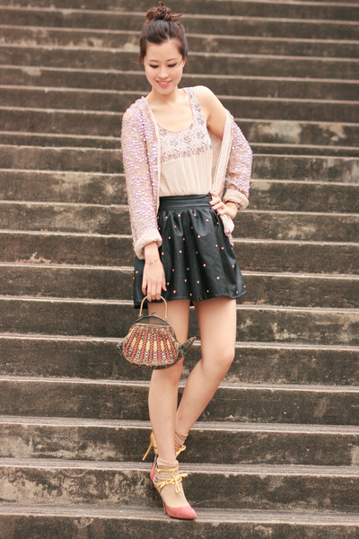black romwe skirt - cream Sugarlips vest - ivory Zara cardigan