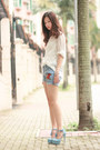 White-chicwish-shirt-periwinkle-getwear-shorts-silver-pree-brulee-bracelet