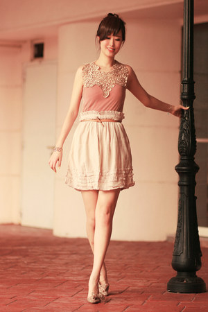 eggshell becky bloomwoods wardrobe dress - ivory rose tatu skirt