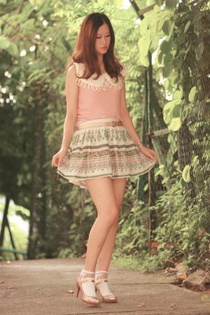 teal Zara skirt - white laurustinus socks - light pink romwe vest