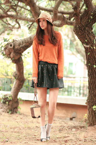 orange Yesstyle sweater - black romwe skirt - dark gray Miu Miu heels