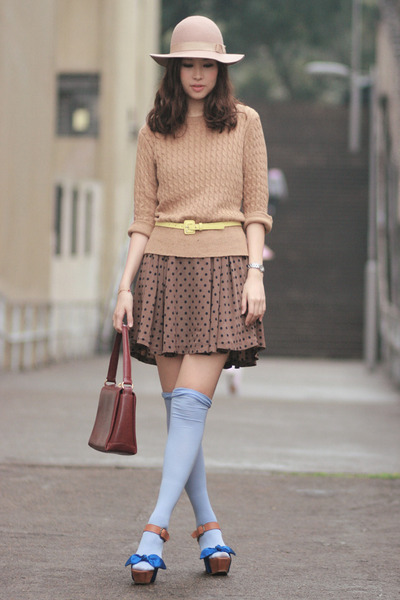 blue viktor & rolf sandals - beige Monki hat - light brown Mango sweater