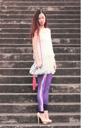 amethyst romwe leggings - bubble gum quendoline bag