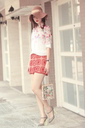light pink romwe shirt - ruby red Topshop shorts