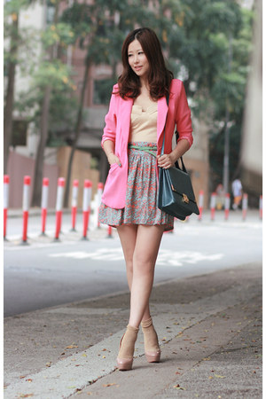 cream Club Couture dress - bubble gum Anna Rose blazer - teal from laurustinus b