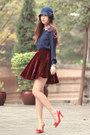 Navy-awwdore-shirt-brick-red-romwe-skirt-red-miu-miu-heels