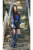 blue sheer H&M shirt - black leather Zara skirt