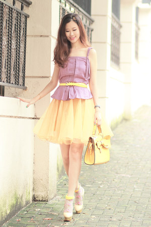 yellow romwe bag - yellow romwe skirt - light yellow romwe skirt