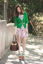 green yesstylecom cardigan - bubble gum Romwecom dress - dark brown Amliya bag