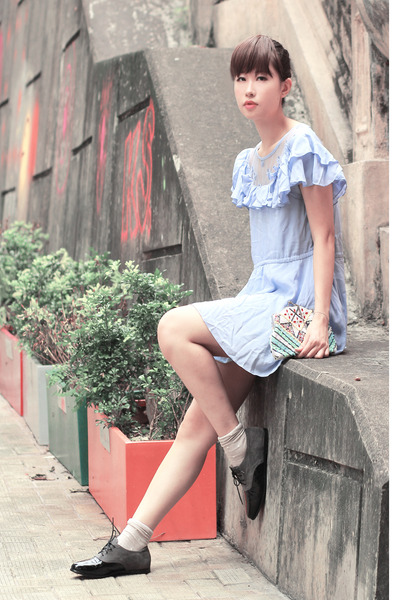 periwinkle romwe dress - dark gray comfit flats