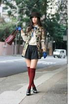 chartreuse lagunamoon coat - blue Tie Rack gloves - black Alexander Wang shoes
