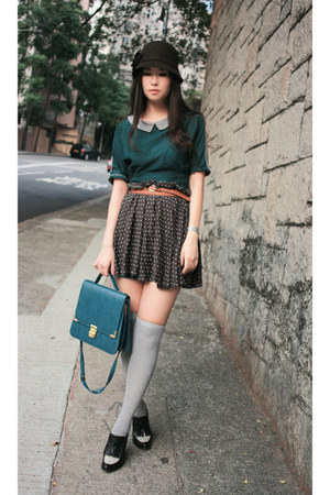 green no brand dress - black wedgse Alexander Wang shoes - teal no brand bag