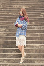 Magenta-romwe-scarf-ivory-romwe-skirt-white-valentino-heels