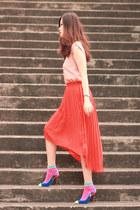 carrot orange united citizens skirt - bubble gum romwe socks