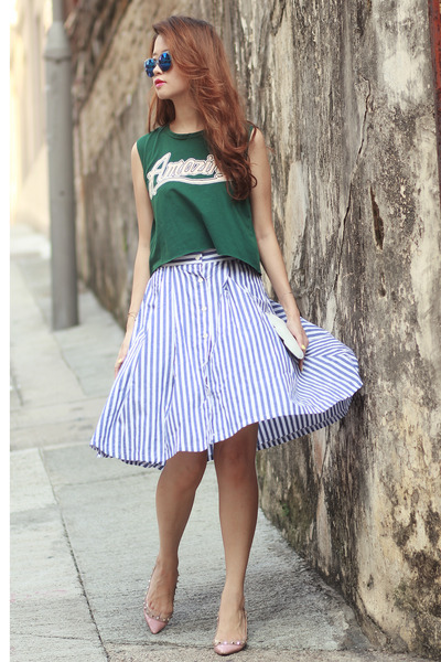blue romwe skirt - navy Choies sunglasses - dark green Choies top
