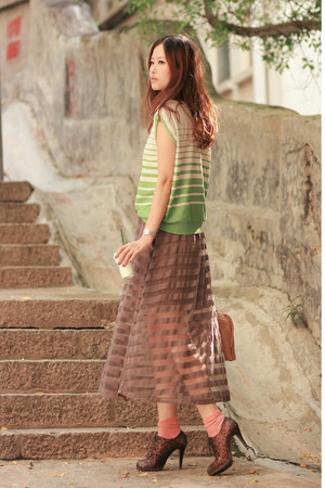 light brown Yesstyle skirt - chartreuse Yesstyle vest