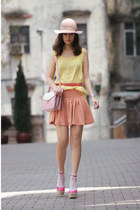 beige Monki hat - light yellow aconcept vest - light orange boutique skirt - bub