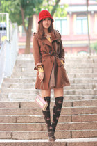 dark brown romw coat - yellow becky bloomwoods wardrobe sweater