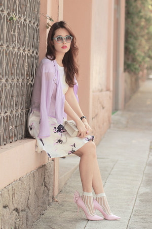 light purple romwe skirt - white the layers socks