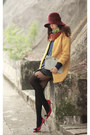 Yellow-romwe-coat-orange-romwe-scarf-silver-kate-spade-bag